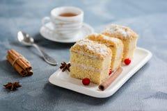 Κέικ Napoleon, ζύμη ριπών, φέτα βανίλιας ή φέτα κρέμας, που διακοσμούνται με το το βακκίνιο Στοκ Εικόνες