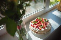 Κέικ Pavlova μαρέγκας Στοκ εικόνες με δικαίωμα ελεύθερης χρήσης