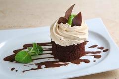 Κέικ ` Tiramisu ` στο άσπρο πιάτο Στοκ φωτογραφία με δικαίωμα ελεύθερης χρήσης