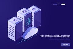 Κέντρο δεδομένων σύννεφων με τους φιλοξενώντας κεντρικούς υπολογιστές Τεχνολογία υπολογιστών, δίκτυο και βάση δεδομένων, κέντρο Δ ελεύθερη απεικόνιση δικαιώματος