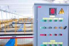 Κέντρο ελέγχου επεξεργασίας απόβλητου ύδατος κινηματογραφήσεων σε πρώτο πλάνο Στοκ φωτογραφία με δικαίωμα ελεύθερης χρήσης
