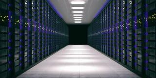 Κέντρο δεδομένων - δωμάτιο υπολογιστών τρισδιάστατη απεικόνιση ελεύθερη απεικόνιση δικαιώματος