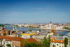 Κέντρο πόλεων της Βουδαπέστης και ο ποταμός Δούναβη Στοκ φωτογραφίες με δικαίωμα ελεύθερης χρήσης