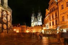 Κέντρο πόλεων της Πράγας τη νύχτα. Στοκ Φωτογραφία