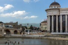 Κέντρο πόλεων των Σκόπια και αρχαιολογικό μουσείο, Δημοκρατία της Μακεδονίας Στοκ Εικόνες
