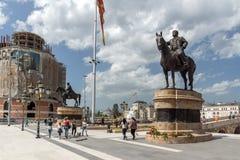 Κέντρο πόλεων των Σκόπια και μνημείο του Άνω Νευροκοπίου, Μακεδονία Στοκ Εικόνα