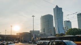 Κέντρο πόλεων της Βαρσοβίας στο ηλιοβασίλεμα Στοκ Φωτογραφία