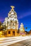 Κέντρο πόλεων της Μαδρίτης, Gran Vis Ισπανία Στοκ Φωτογραφίες