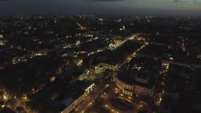 Κέντρο της Οδησσός στην οδό Deribasovskaya τη νύχτα εναέρια όψη απόθεμα βίντεο