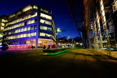 Κέντρο της πόλης του Σέφιλντ τη νύχτα Στοκ Φωτογραφία