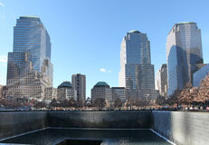 Κέντρο του World Trade Center και 9/11 αναμνηστική Νέα Υόρκη, ΗΠΑ Στοκ εικόνα με δικαίωμα ελεύθερης χρήσης