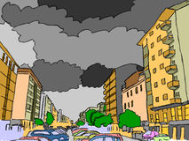 Κέντρο ‹â€ ‹πόλεων †με τα μαύρα σύννεφα Στοκ εικόνα με δικαίωμα ελεύθερης χρήσης