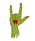 Κέρατα χεριών Zombie, satan δάχτυλο σημαδιών επάνω στο διάνυσμα αποκριών χειρονομίας ρεαλιστική απεικόνιση κινούμενων σχεδίων που Στοκ Εικόνες