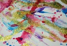 Κέρινα σημεία κρητιδογραφιών, λαμπιρίζοντας υπόβαθρο watercolor χρωμάτων Στοκ Φωτογραφία