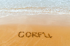 Κέρκυρα που γράφεται στη χρυσή παραλία, Κέρκυρα Στοκ φωτογραφία με δικαίωμα ελεύθερης χρήσης