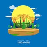 Κήποι από το σχέδιο απεικόνισης πόλεων κήπων της Σιγκαπούρης κόλπων VE απεικόνιση αποθεμάτων