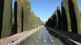 Κήποι και πηγές στην Κόρδοβα, Ισπανία απόθεμα βίντεο