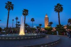 Κήποι μουσουλμανικών τεμενών Koutoubia στο Μαρακές, Μαρόκο Στοκ Εικόνες