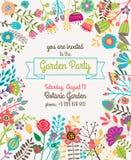 Κήπος ή αφίσα προτύπων πρόσκλησης θερινών κομμάτων διανυσματική απεικόνιση