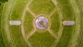 Κήπος και πάρκο, πηγή, βίλα Bagatti Valsecchi, βίλα, εναέρια άποψη, δέκατος όγδοος αιώνας, ιταλική βίλα Στοκ Εικόνα