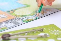 Κήπος κατωφλιών και σχέδιο σχεδίου λιμνών για τη βίλα στοκ εικόνα με δικαίωμα ελεύθερης χρήσης