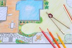 Κήπος κατωφλιών και σχέδιο σχεδίου λιμνών για τη βίλα στοκ φωτογραφία