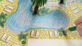 Κήπος κατωφλιών και σχέδιο σχεδίου λιμνών για τη βίλα φιλμ μικρού μήκους