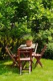 Κήπος με τα έπιπλα Στοκ εικόνες με δικαίωμα ελεύθερης χρήσης