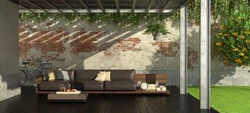 Κήπος με την πέργκολα σιδήρου απεικόνιση αποθεμάτων