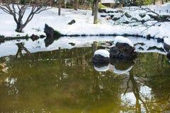 Κήπος με τη λίμνη και το χιόνι, Yokohama, Τόκιο, Ιαπωνία Στοκ Εικόνες