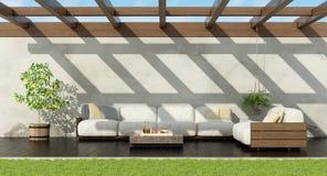 Κήπος με τον άσπρο καναπέ παλετών απεικόνιση αποθεμάτων