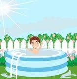 Κήπος με το αγόρι στη λίμνη διανυσματική απεικόνιση
