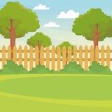Κήπος με το τοπίο φρακτών ελεύθερη απεικόνιση δικαιώματος