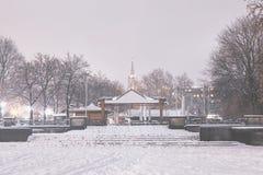 Κήπος μπύρας τη νύχτα το χειμώνα Στοκ φωτογραφίες με δικαίωμα ελεύθερης χρήσης