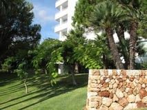 Κήπος ξενοδοχείων με τους φοίνικες Στοκ εικόνα με δικαίωμα ελεύθερης χρήσης