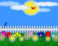 Κήπος λουλουδιών μια φωτεινή ηλιόλουστη ημέρα διανυσματική απεικόνιση