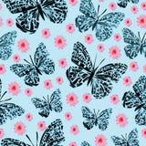 Κήπος πεταλούδων και dasies-πεταλούδων, άνευ ραφής σχέδιο επανάληψης διανυσματική απεικόνιση