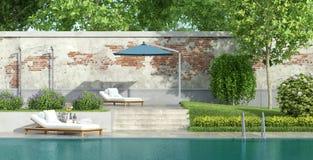 Κήπος πολυτέλειας με τη λίμνη ελεύθερη απεικόνιση δικαιώματος
