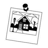 Κήπος σπιτιών φωτογραφιών με την καρφίτσα διανυσματική απεικόνιση