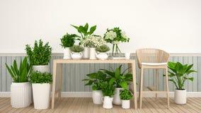 Κήπος στον καφέ ή το ανθοπωλείο - τρισδιάστατη απεικόνιση ελεύθερη απεικόνιση δικαιώματος