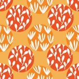 Κήπος στο πορτοκαλί και κόκκινο άνευ ραφής σχέδιο φυσαλίδων ελεύθερη απεικόνιση δικαιώματος