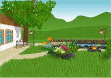 κήπος σύγχρονος ελεύθερη απεικόνιση δικαιώματος
