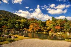 Κήπος της Zen στο ναό Tenryu-tenryu-ji στην εποχή φθινοπώρου Στοκ φωτογραφίες με δικαίωμα ελεύθερης χρήσης