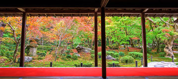 Κήπος φθινοπώρου φυσικός στο ναό Enkoji, Κιότο Στοκ φωτογραφία με δικαίωμα ελεύθερης χρήσης