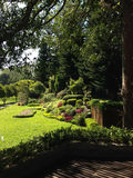 Κήπος Beautifui στο πεζούλι με το ξύλινο πεζούλι Στοκ Εικόνα