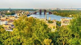 Κίεβο ή Kiyv, Ουκρανία: εναέρια πανοραμική άποψη του κέντρου πόλεων Στοκ Εικόνες