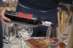 Κίεβο, Ουκρανία - 26 Μαρτίου 2016: Δοκιμή κρασιού στο καλό κατάστημα αμπέλων Το Sommelier χύνει το ξηρό κόκκινο κρασί σε ένα ποτή Στοκ εικόνα με δικαίωμα ελεύθερης χρήσης