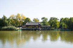 Κίνα, Ασία, Πεκίνο, ο μεγάλος κήπος άποψης, παλαιά κτήρια Στοκ Εικόνα