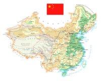 Κίνα - λεπτομερής τοπογραφικός χάρτης - απεικόνιση Στοκ εικόνα με δικαίωμα ελεύθερης χρήσης