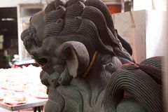 Κίνα, θρησκεία, λιοντάρι πετρών, λιοντάρι πετρών στοκ εικόνες